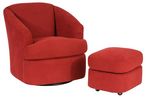contemporary swivel barrel chair and ottoman with casters
