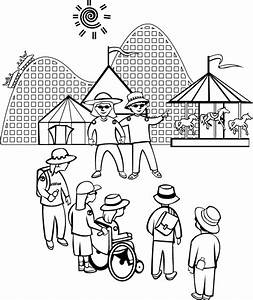 Amusement Park Coloring Page for Kids - Free Printable Picture