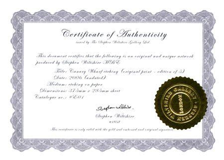 certificate sample certificate  authenticity  art