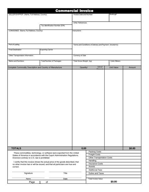 international commercial invoice template invoice