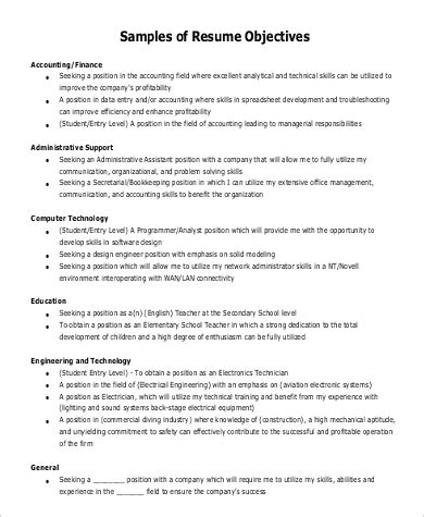 Objective For Resume by Sle General Objective For Resume 7 Exles In Pdf