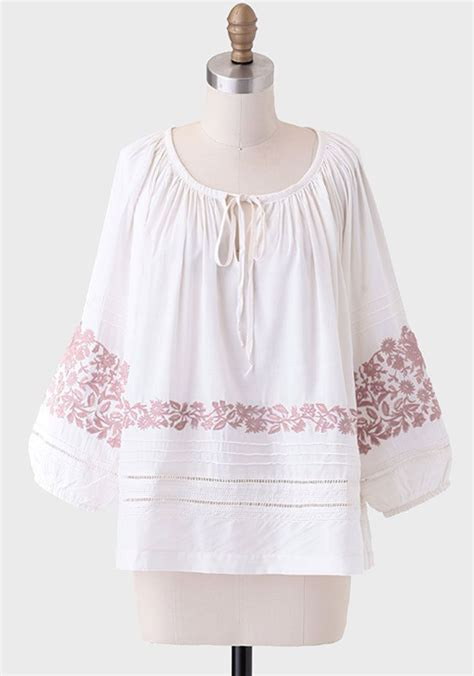 embroidered peasant blouse peasant blouse with embroidered silk pintuck blouse
