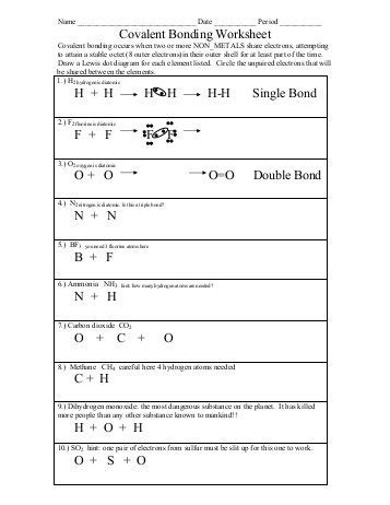 Types Of Bonds And Covalent Bonding Worksheet  Colina Middle