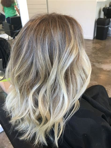 blonde balayage highlights   shadowed root