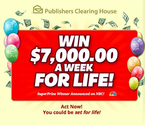 Enter to Win $7,000 a Week For Life in PCH Sweepstakes