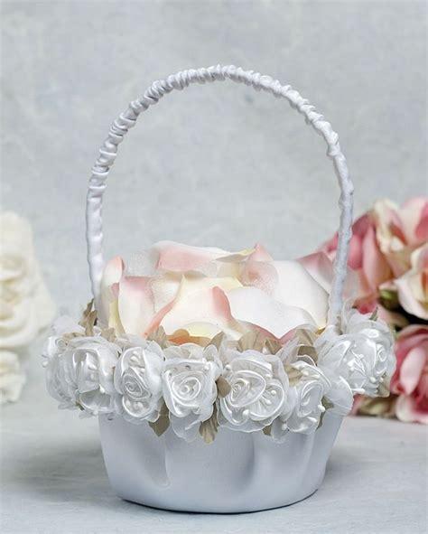 rose plush satin  organza wedding flower girl basket