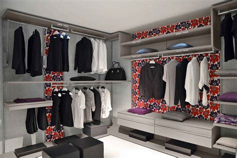 stylish small square walk in closet ideas enhanced with