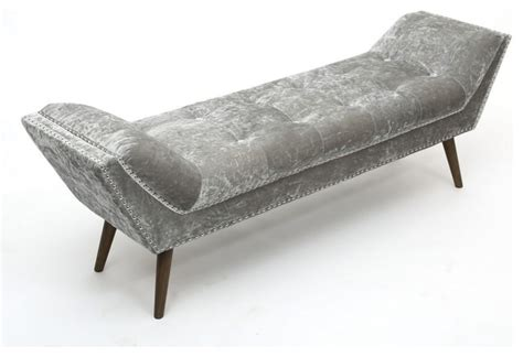 mohel crushed velvet silver chaise by sherman