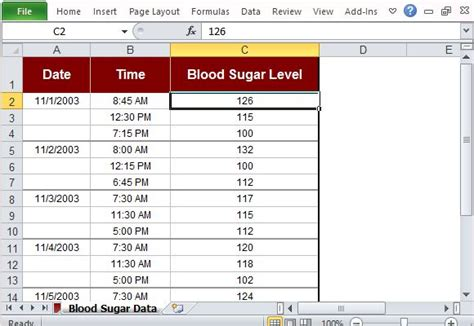 excel template  tracking blood sugar levels