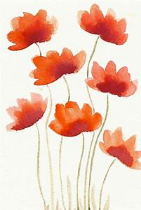 Red Flowers Original Modern Watercolor painting / by ...