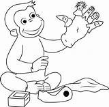Curious George Puppets Coloring Puppet Pages Fingers Playing Finger Hand Georges Coloringpages101 Cartoon sketch template