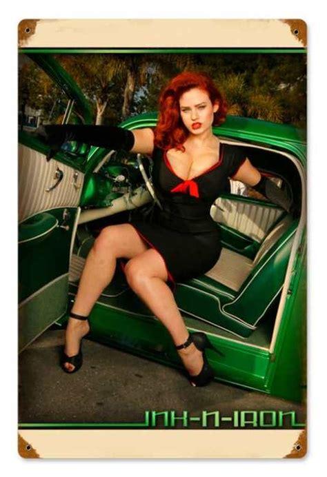 vintage green car pinup pin  girl metal sign