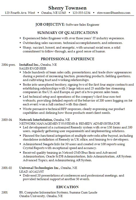Engineer Sle Resume Objective by Resume For A Software Sales Engineer Susan Ireland Resumes