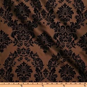 Flocked Damask Taffeta Brown - Discount Designer Fabric
