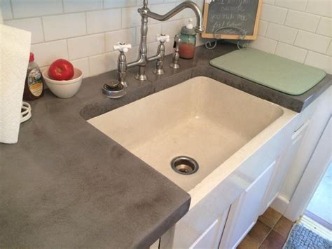 Concrete Farmhouse Sink and Cool Grey Concrete Countertops
