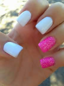 Pink and white nails with glitter nail art ideas