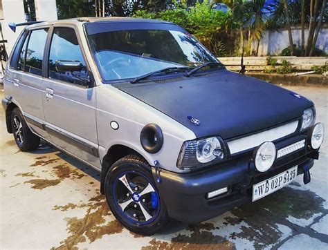 Modification Black by Modified Black Grey Maruti 800 With Spoiler A Maruti