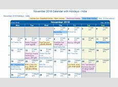 Print Friendly November 2018 India Calendar for printing