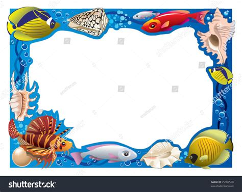 decorative frame photo tropical bright fishes stock vector