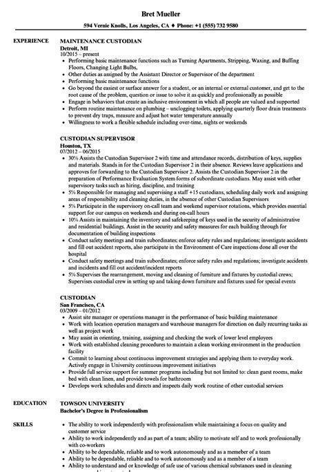 Custodian Resume by Custodian Resume Sles Velvet