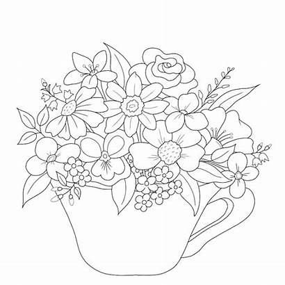 Tea Cup Drawing Outline Teacup Tattoo Coloring