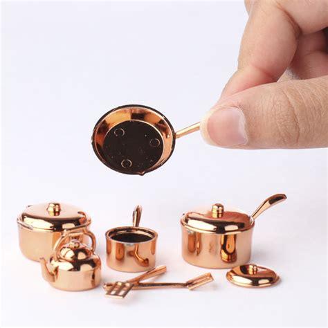 miniature copper pots  pans kitchenware set kitchen miniatures dollhouse miniatures