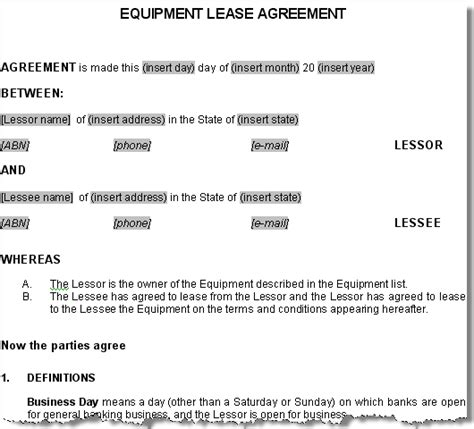 sample rental contract