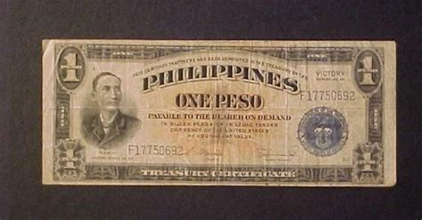 rare  antique philippines  peso war wwii victory paper