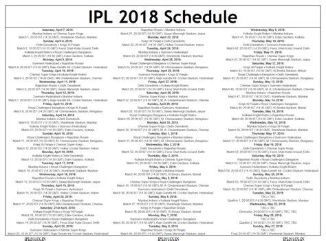 ipl 2018 tournament schedule dates timetable
