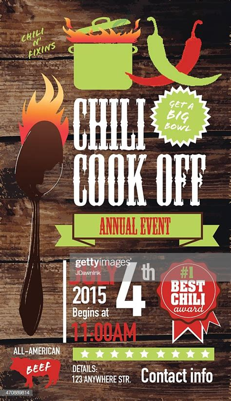 cute chili cookoff invitation design template  wooden
