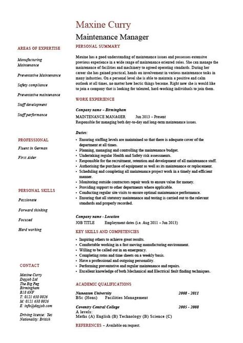 Free Resume For Maintenance Manager by Maintenance Manager Resume Exle Description Sles Repairs Building Work Teams