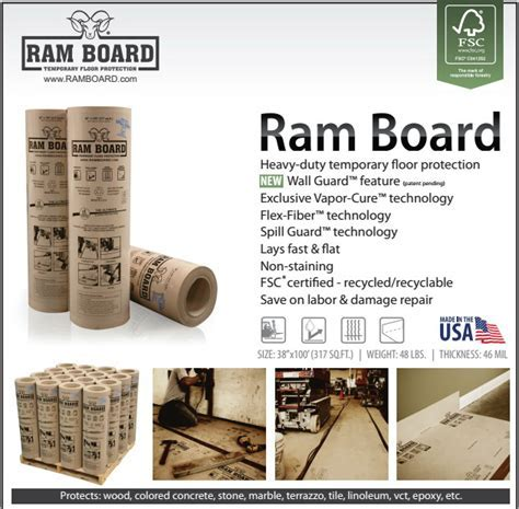 Ram Board is a heavy duty, temporary floor protection