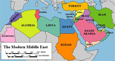map   modern middle east