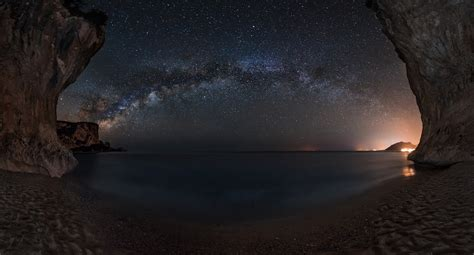 Landscape Nature Starry Night Milky Way Cave Beach