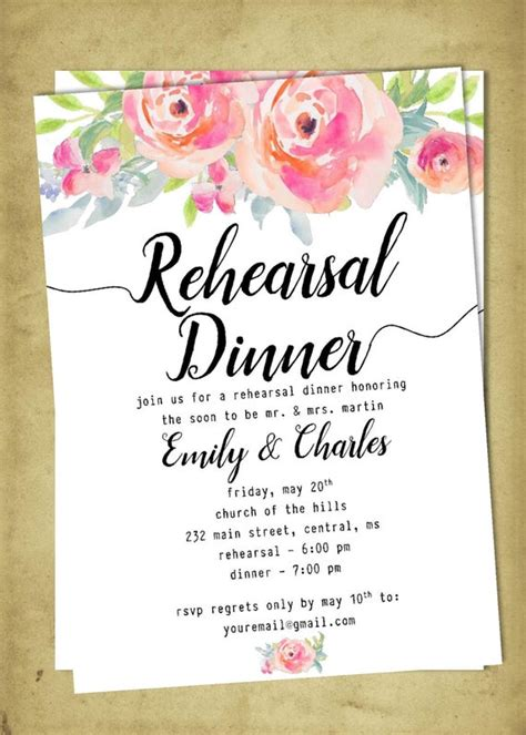 DIY Printable Wedding Rehearsal and Dinner Invitation