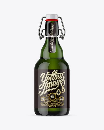 Free beer bottle mockup is now available. 330ml Green Glass Beugel Bottle Mockup