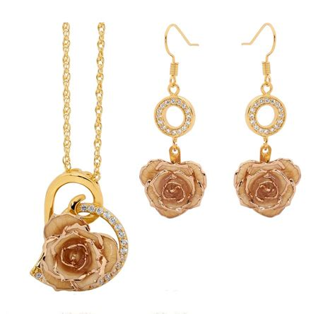 Gold Dipped Rose & White Matched Jewelry Set In Heart Theme. Gemstone Bracelet. Unisex Wedding Rings. Custom Gold Chains. Pad Sapphire