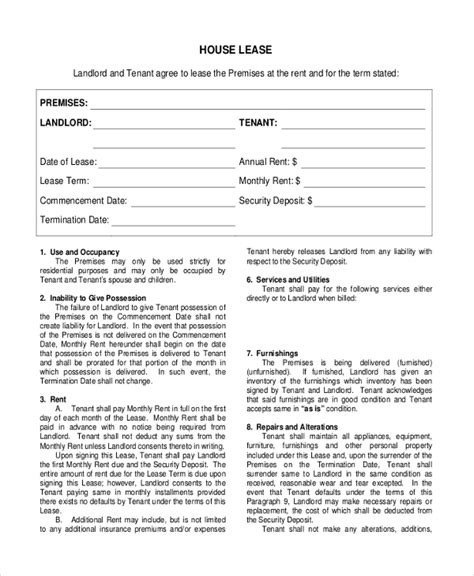 sample house lease agreement forms   ms word