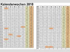 Kalenderwochen 2018 mit Vorlagen für Excel, Word & PDF