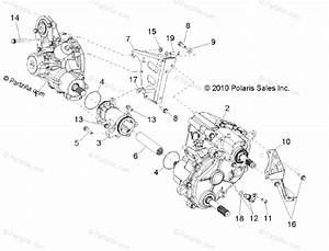 Polaris Side By Side 2013 Oem Parts Diagram For Drive Train  Gearcase  Differential Mounting