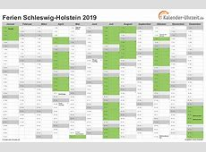 Ferien SchleswigHolstein 2019 Ferienkalender zum Ausdrucken