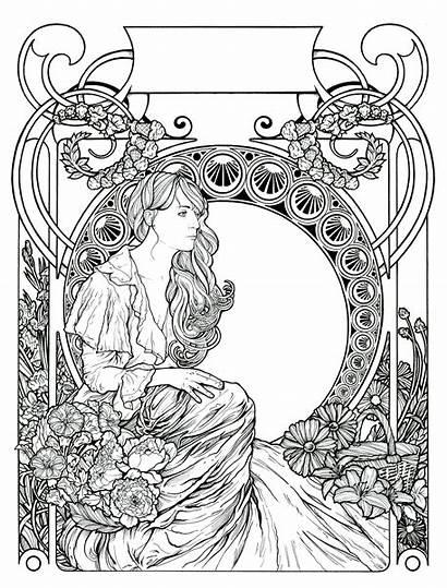 Coloring Pages Florence Machine Nouveau Mucha Gregcoulton
