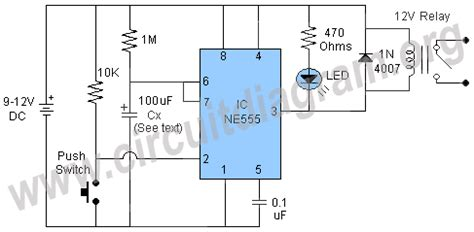 power on delay using 555 timer circuit diagram