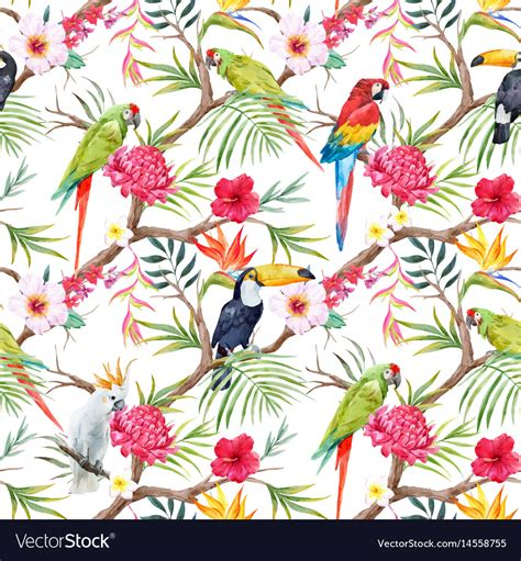 Welcome to h&m, your shopping destination for fashion online. Watercolor tropical floral pattern Royalty Free Vector Image