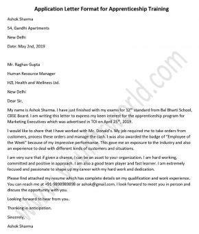 application letter sample format  seaman apprenticeship