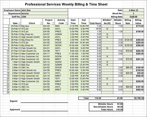 professional services billing timesheet excel template