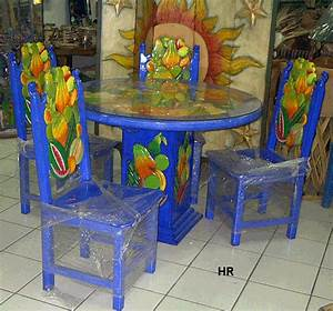 dining tables, carved and painted Mexican Furniture Hacienda