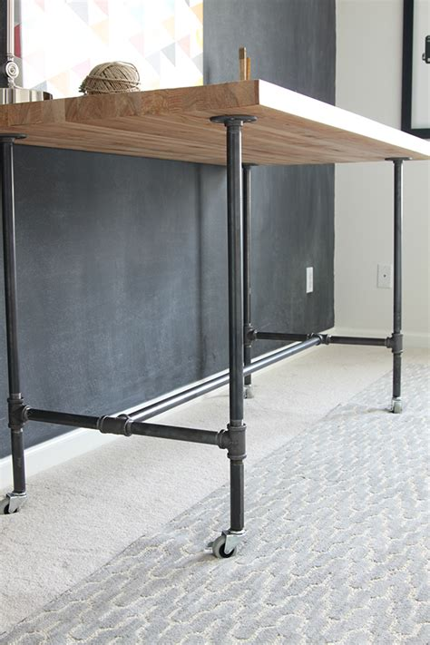 iron pipe desk plans how to build a workbench with butcher block and pipe