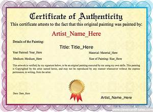 artist certificate of authenticity template - original painting template
