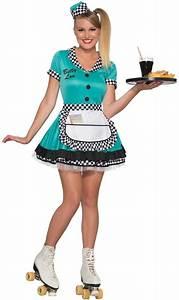 Vintage Retro 50s Car Hop Waitress Rollerskating Betty Lou DRESS Womenu0026#39;s Costume | eBay